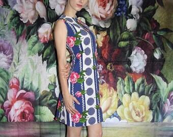On SALE 35% Off - Pink Rose 1960s Vintage Mod Floral Polka Dot Mid Length Graphic Shift Dress - 60s Clothing - WV0423