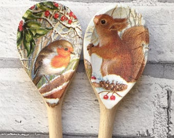 Decorative Decoupage Wooden Spoons using Winter Robin or Snowy Squirrel FREE Shipping to all UK Addresses