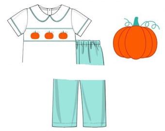 Thanksgiving Smocked Outfit, Boy Fall Pant Set, Pumpkin Smock, Autumn, Thanksgiving, Thanksgiving Outfit, Holiday Smocked, Matching Set