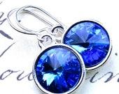 ON SALE Swarovski Rivoli Crystal Earrings in Sapphire Blue -  Swarovski Crystal and Sterling Silver