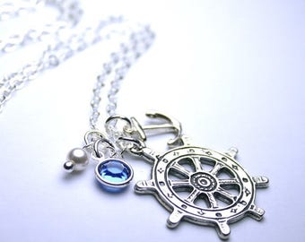 ON SALE Anchors Away Necklace - Sterling Silver Ship's Wheel Pendant - Swarovski Crystal and Pearls with Silver  - Nautical Charms