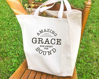 Market style 'Amazing Grace' tote bag, inspirational gift, housewarming gift, tote bags for women, hymn gifts, shopper tote