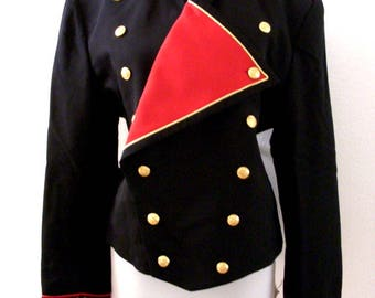 Vintage Black and Red Doorman Tuxedo Style Jacket - Double Breasted Cropped Mens Military Style Uniform Jacket - Size 44 Small to Medium
