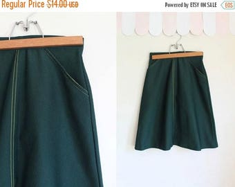 AWAY SALE 20% off vintage 1970s girl scout skirt - FOREST green scout uniform skirt / 8yr / 23""