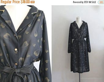 AWAY SALE 20% off 50 Percent off...last call // vintage 1970s dress - GODEN Hearts black & gold novelty print dress / M/L/Xl