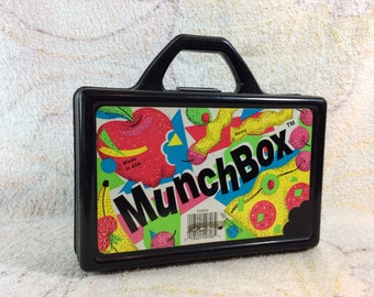 Vintage Kids 90s Munchbox Pencil Box Back to School Supplies Retro Licorice Black