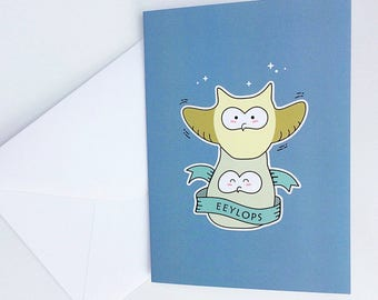 Cute Eeylops Owl Emporium Greeting Card - Harry Potter - Diagon Alley - Size A6 Blank Inside