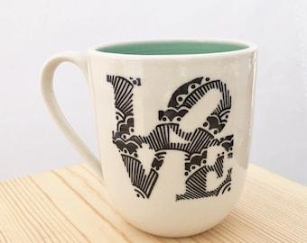 READY TO SHIP Hand painted porcelain wheel thrown love park mug