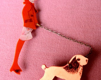 Vintage Celluloid Chain Pin Two Piece Connect with Chain Lady Walking Dog
