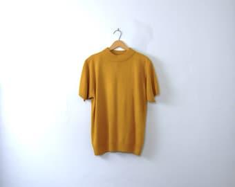 Vintage 90's mustard yellow mock turtleneck sweater, women's size large