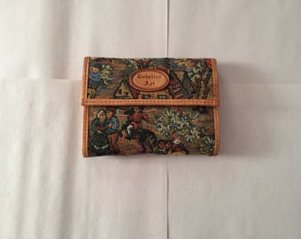 Gobelins Art tapestry and leather wallet | folded honey leather wallet | ancient town scene gobelins wallet