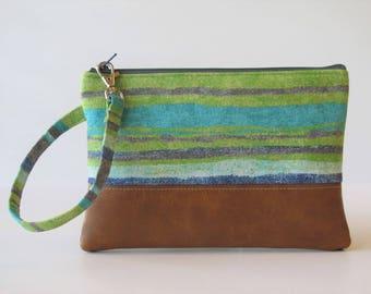 Wristlet Wallet, iPhone wallet, Vegan Leather Clutch Purse, Cellphone Wristlet, Boho Zipper Pouch, Boho Clutch,Gift For Her