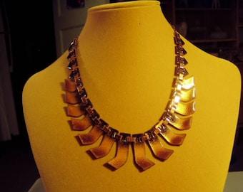 Vintage 1950s Matisse Renoir Copper Tan Enamel Aztec Link Necklace 9315