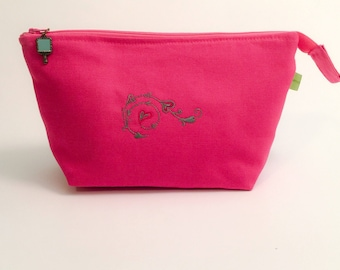 Pink cosmetic bag makeup bag toiletries bag embroidered hearts travel bag Valentine
