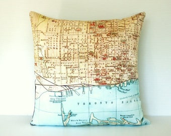 SALE SALE SALE throw pillow, cushion cover, map pillow, Toronto,map pillow organiccotton 16x16 inch , 40cm pillow