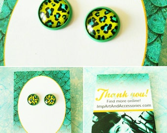 NEON GREEN LEOPARD-12 mm Neon Green and Bright Blue Leopard in Green Colored Post Earrings