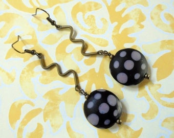 Black and Lavender Spotted Squiggly Boho Earrings (3707)