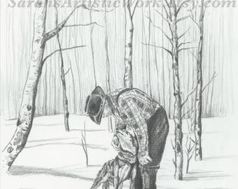 "Print of Original Drawing ""Wally and Blaze"" by Sarah Marie Bevard Dogsled Art Dogsledding Alaska"