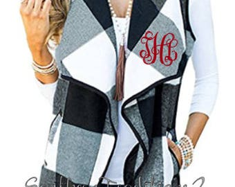 Monogram Buffalo Plaid Women's vest -  Monogram Vests for Women - Buffalo Check Vest for Ladies - PLEASE SEE SHIPPING times