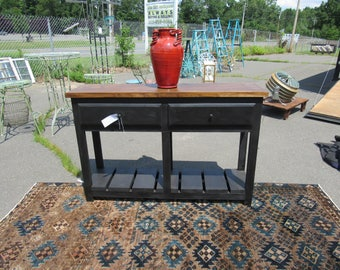 """2 Drawer side table 55"""" across, 36"""" tall"""