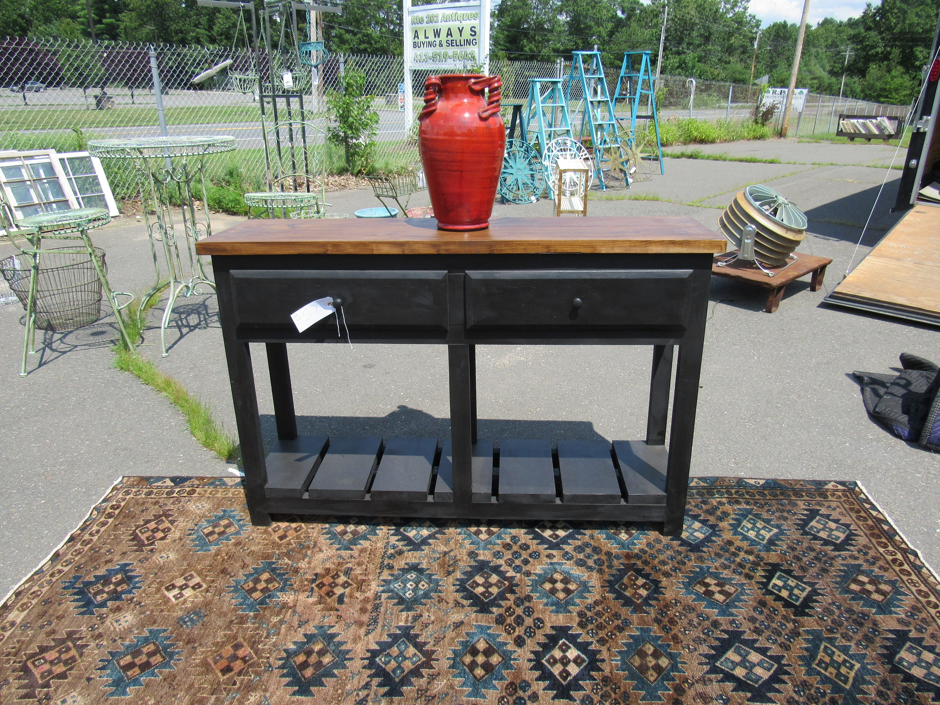 Tall Small Side Table: 2 Drawer Side Table 55 Across 36 Tall