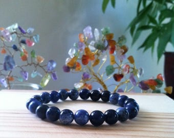 "Handmade Natural Blue Sodalite Bracelet, Genuine Sodalite Gemstone Stretch 7"" Bracelet, Meditation,  Healing, Good Luck, Peace, Harmony"