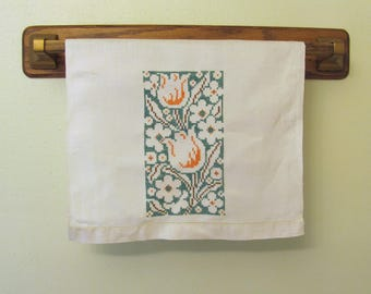 Vintage Hand Embroidered Cross Stitch Tulips Cotton Linen Tea Guest Towel