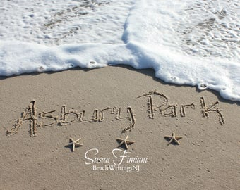 Asbury Park Beach Sand Beach Writing  Fine Art Photo Jersey Shore