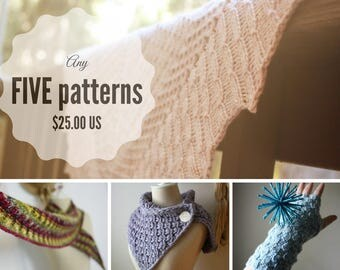 Knitting Patterns / Pattern Bundle / Choose Five Patterns (Your Choice) / PDF Digital Delivery