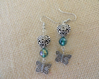 Silver Hearts And Butterflies With Teal Beads Dangling Earrings
