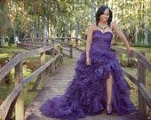 Purple Wedding Dress with Sexy Slit Sweetheart Neckline by Award Winning Wedding Dress Fantasy