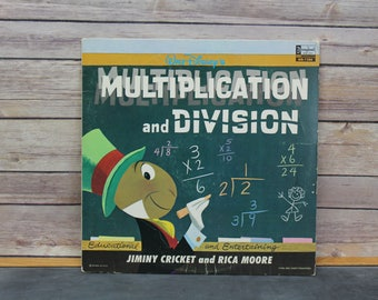 Walt Disney Multiplication and Division Vinyl Record, Jiminy Cricket and Rica Moore