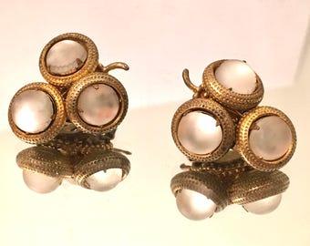 Joseph Morton Vintage Jewelry Moon glow Clip on Earrings