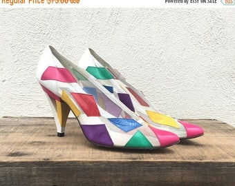 15% Off Out of Town Sale 80s Mr Seymour Stuart Weitzam Mesh White Pumps Geometric Colorful Wearable Art High Heels Ladies Size 7.5AA