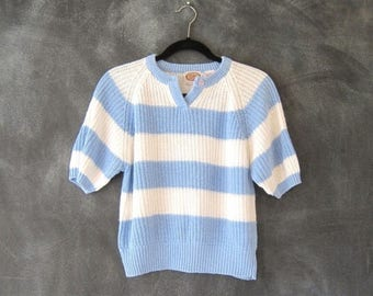 SALE 80s Cropped Sweater Baby Blue White Striped Short Sleeve Oversized Boxy  Ladies Size M