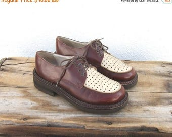 20% Off Sale Spectator Brogue Oxfords Perforated Two Tone Brown Shoes Size 6