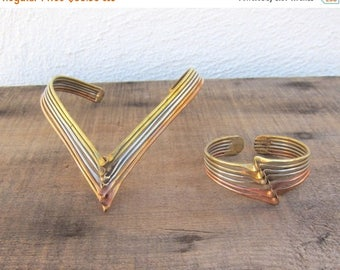 20% Off Sale 80s Brutalist Modernist Mixed Metal Choker Neck Cuff Necklace and Cuff Copper Brass Silver Deadstock