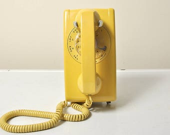 Yellow Wall Mount Rotary Telephone #554 1963 Bell System Phone
