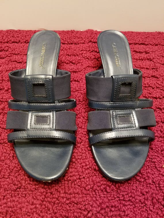 Cabin Creek Navy Blue Sandals Mules - Used Excellent Condition - Size 8-1/2M