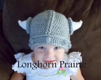 Viking Hat crochet beanie (all sizes)