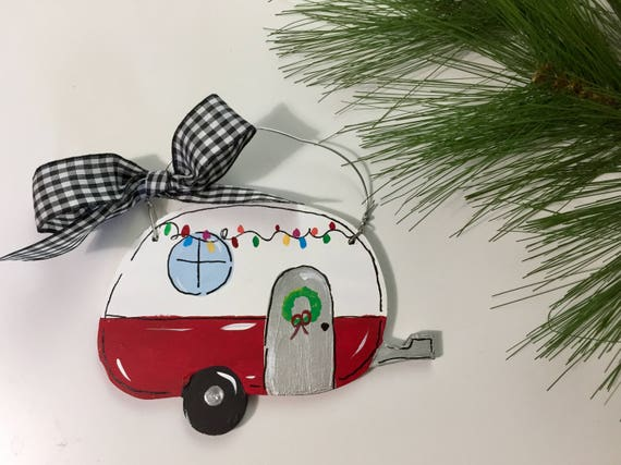 Personalized, Christmas camper ornament,  Hand painted camper ornament, RV ornament, personalized kid's ornament, Christmas ornament