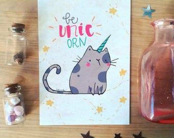 """Be Unicorn"" postcard"