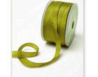 "4 Yards Narrow 1/4"" wide OLIVE GREEN SILK  Ribbon Trim  cheswickcompany"