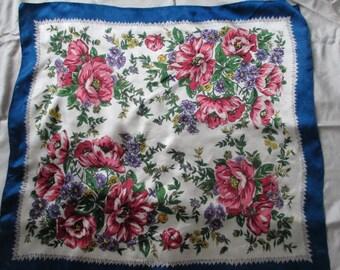 Vintage 1950's Floral BRICO Japan Rayon Scarf