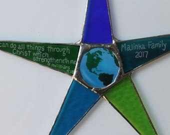 Earth Star- 10 inch art glass in greens, blues and turquoise with earth image under glass
