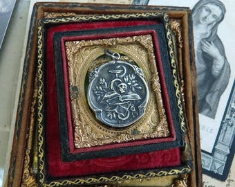 French Memento Mori Skull Snake and Chalice Amulet, Talisman for the Alchemist, by RusticGypsyCreations