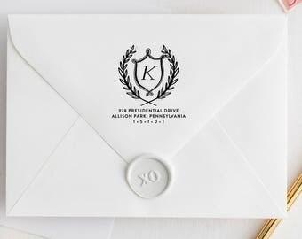 Self-Inking Address Stamp, MONOGRAM WREATH, Round Address Stamp, Personalized Address Stamp, Custom Address Stamp, Modern Stamp