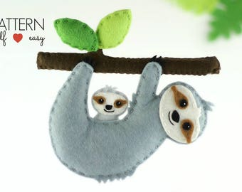 Sloth Pattern,  Felt Sloth Sewing Pattern- Sloth Baby Mobile Pattern, Felt Sloth Ornament Pattern, Sloth Cake Topper Sloth Toy