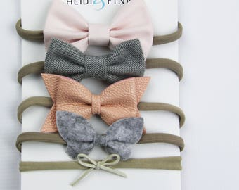 NEW Classic pink grey Hairbow SET of 5 Hairband cotton little butterfly flannel suede pink