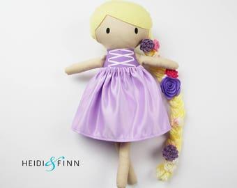 LIMITED EDITION rapunzel Mini Pals soft rag doll keepsake gift OOAK ready to ship pink purple tangled